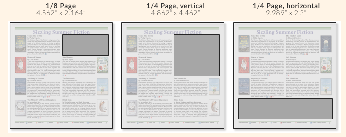 "Advertising layout examples, including 1/8 page (4.862"" x 2.164""), 1/4 page vertical (4.862"" x 4.462"") and 1/4 page horizontal (9.989"" x 2.3"")"