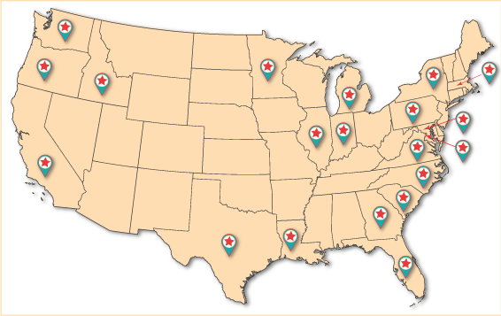 Image of a map of The United States with pins showing each independent bookstore that uses Matchbook Marketing's services.